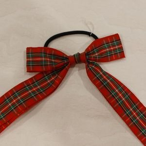 J.Crew NWOT Red and Green Plaid Bow Ponytail